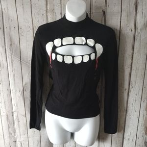 Divided Small Vampire Keyhole Sweater Goth